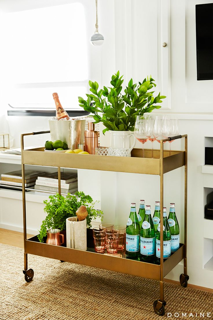 Gold Bar Cart with lots of green accents.