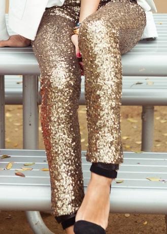 Sequined Gold Silver Leggings Glitter Pants