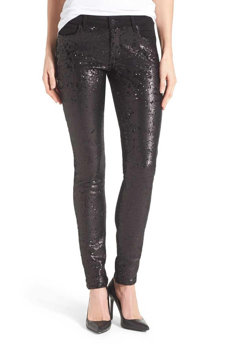 'Peace' Sequin Front Skinny Jeans (Black)