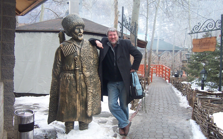 Kazak batyrs—heroic 18th century warriors—guard a mountain resort outside Almaty
