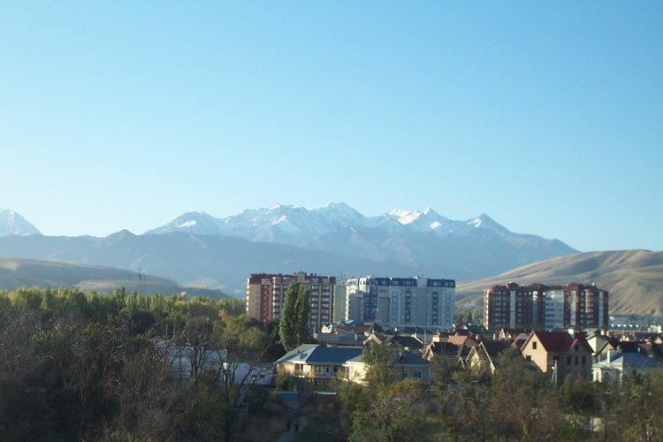 The Kyrgyz Ala Too range rises south of Bishkek