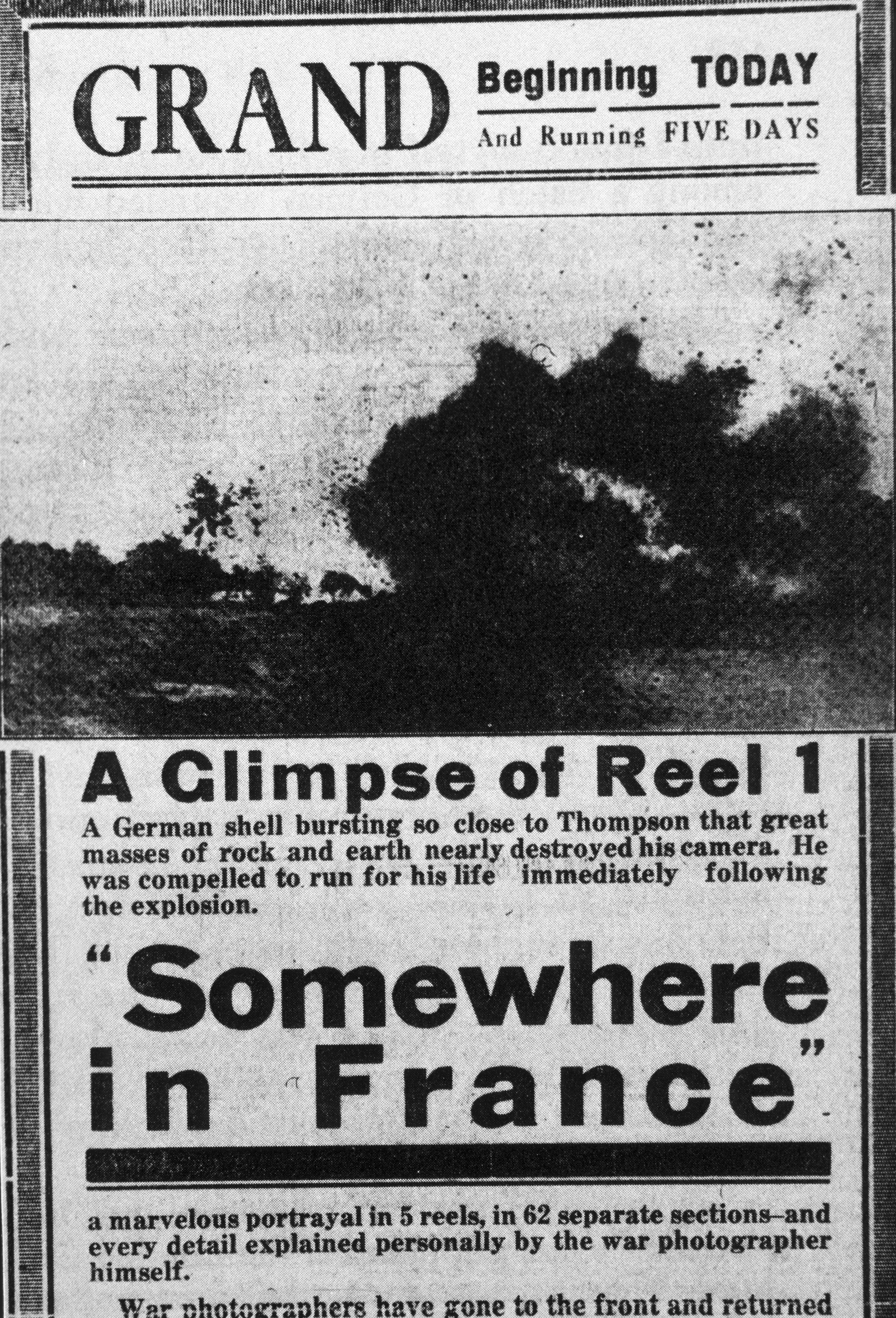 "Newspaper promotion for Thompson's 1915 feature-length film, ""Somewhere in France"""