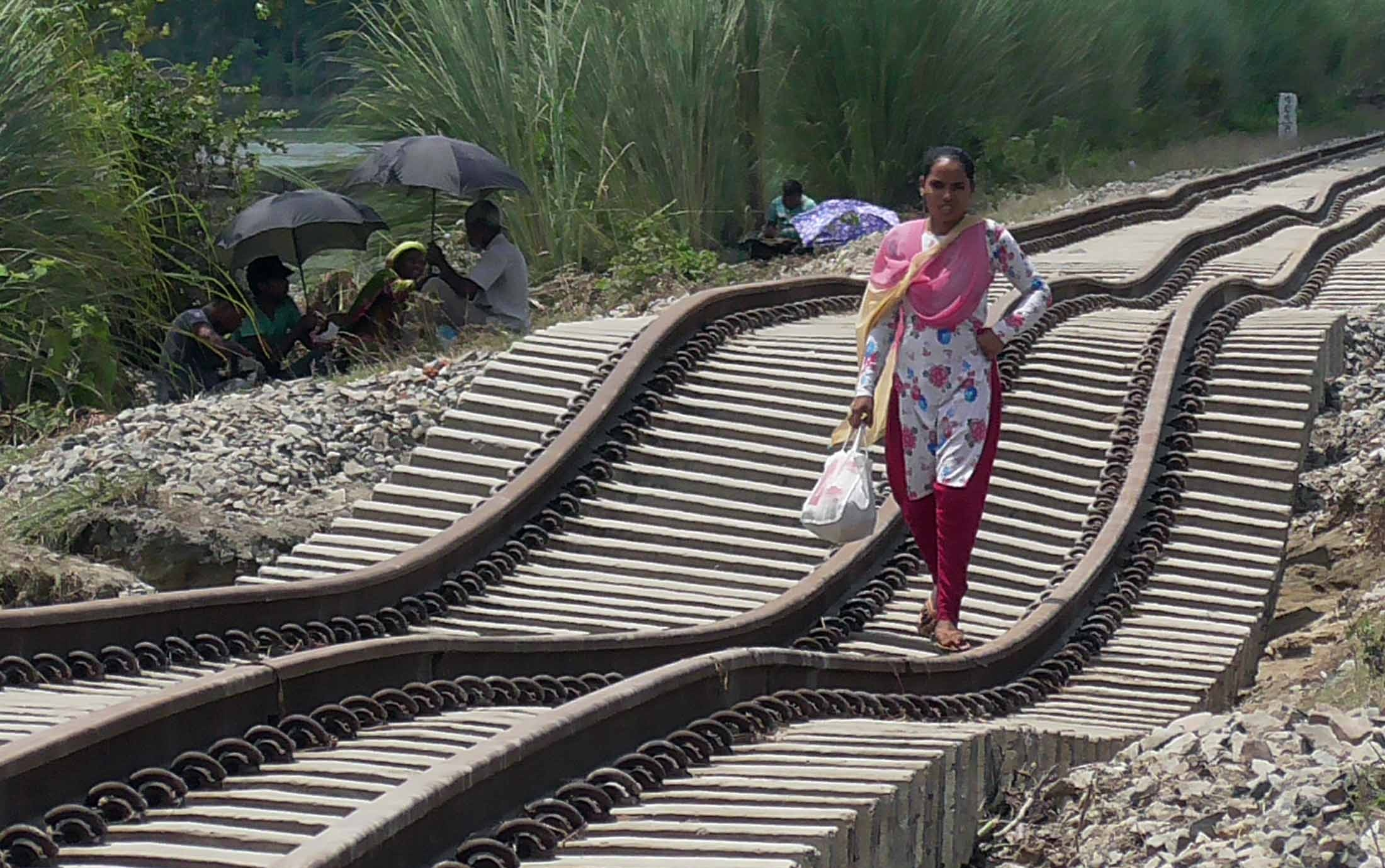 The Dhaka-Dinajpur line at Kauguan in August 2017 after flood waters washed away the track bed. Courtesy  The Daily Star.