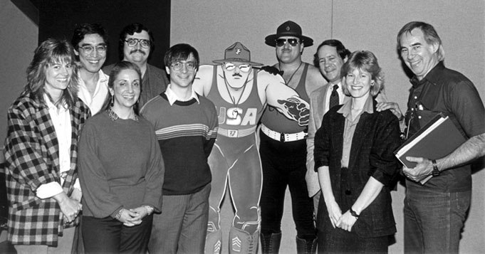 Buzz (top left, handlebar 'stache) at Wally Burr Studios during the soundtrack recording of  G.I.Joe: The Movie.