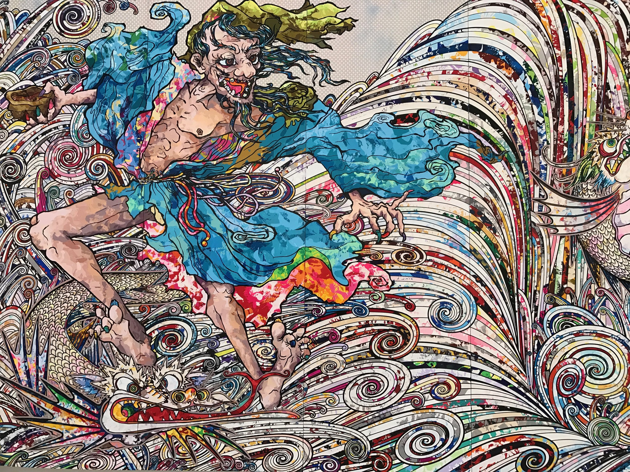 In the Land of the Dead, Stepping on the Tail of a Rainbow  by  Takashi Murakami  (cropped)