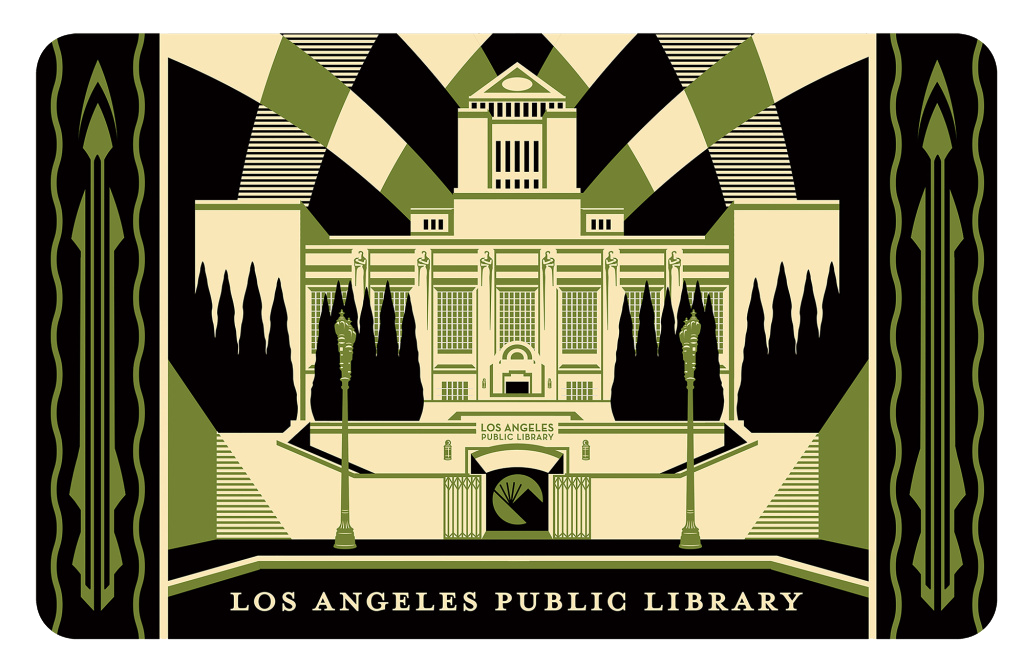 LAPL card featuring LA Central Library  by Shepard Fairey