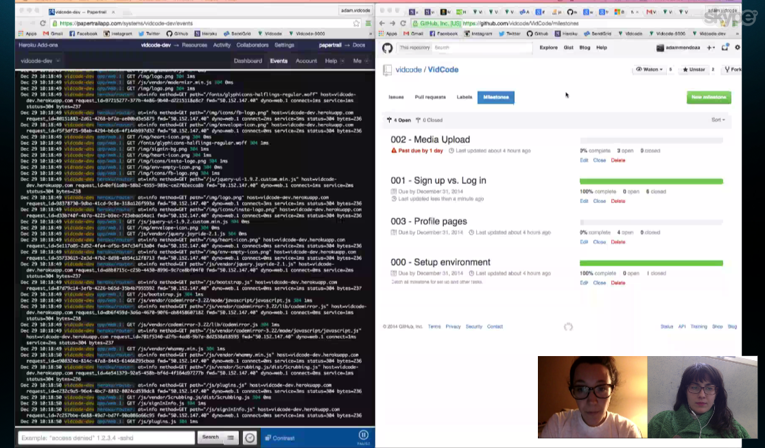 On the left you can see our Github, this is where we store all of our code. We'll teach you more about that later!