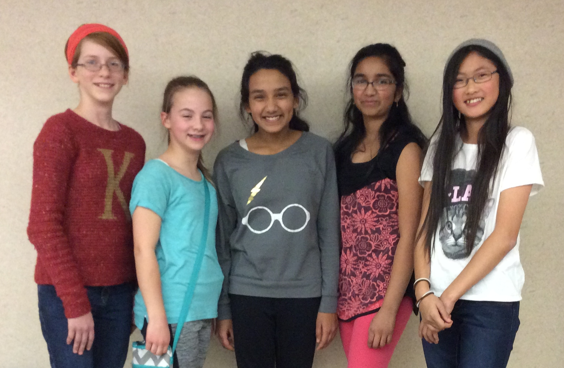 Pictured from left to right:  Katja, Alyssa, Sreya, Sudhiksha, and Eilene.