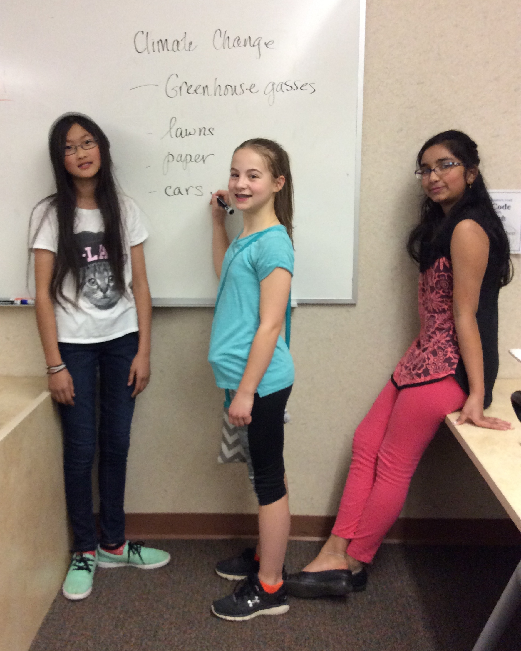 The Girls Code 4 Climate Contest winners brainstorming video ideas