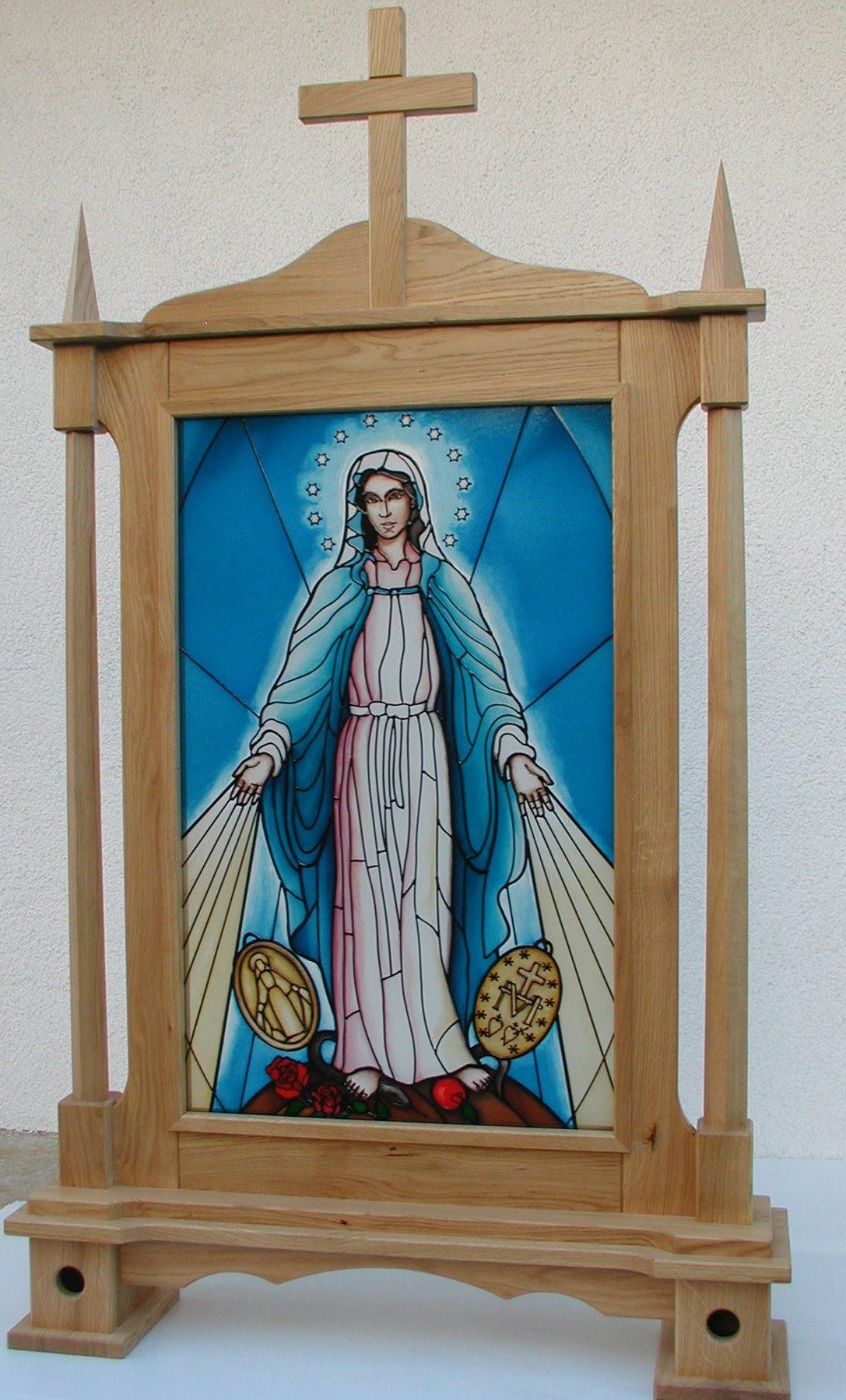 Matka Boska Objawiająca Cudowny Medalik - Feretron drewniany