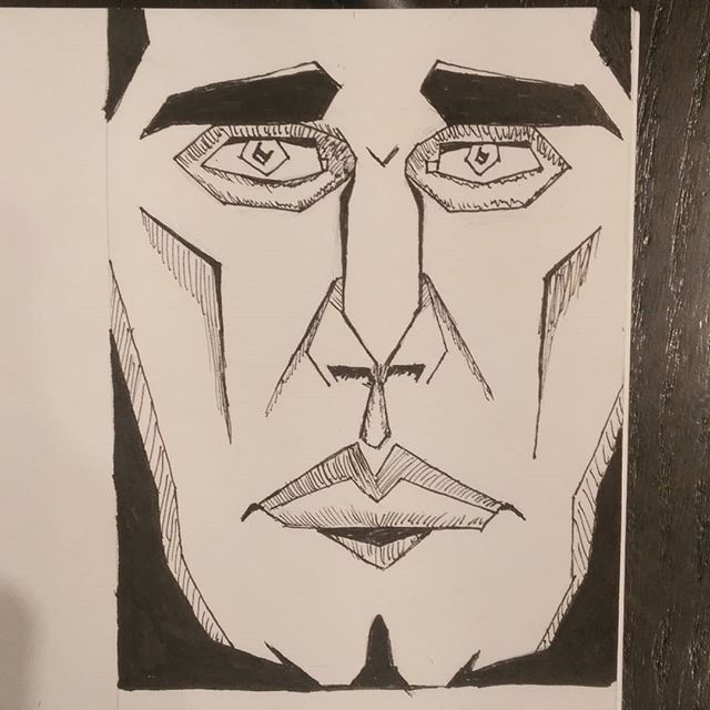 #face #ink #sketch #art #penart #inksketch #pensketch #abstract #blackandwhite #quicksketch #longface