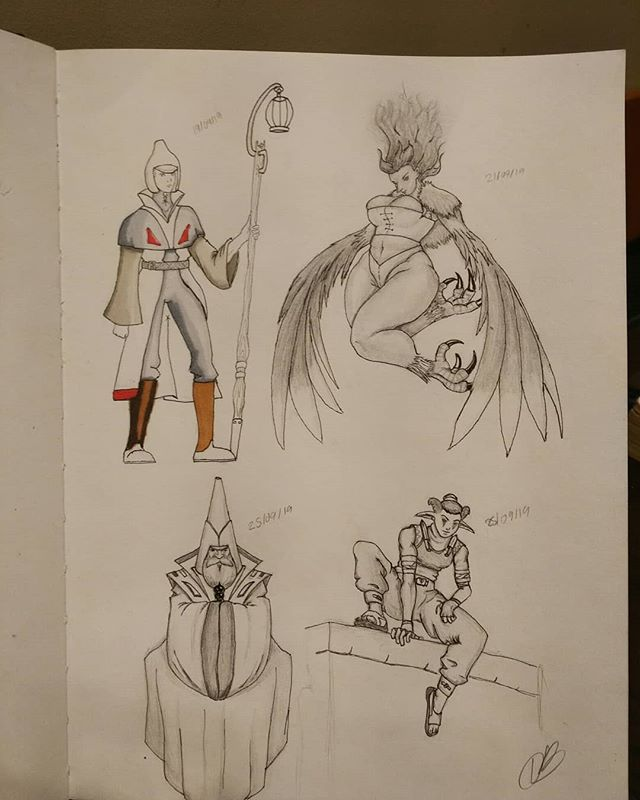 Some denizens of the world I doodled earlier. Swipe for details of each, and a non-bleedy inked version of Lantern Man that started this whole exercise.  #characters #characterdesign #design #fantasy #steampunk #moebius #inspiration #sage #lantern #lightbearer #monk #harpy #phoenix #birdwoman #drow #rouge #thief #drawing #art #fantasyart #mixedmedia #pencil #pen #ink #copic #copicfineliner #pencilandpen