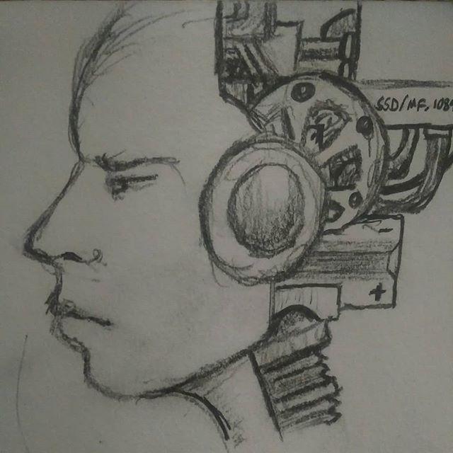 Couple quick doodles.  #robots #transhuman #art #scifi #pencilsketch #quicksketch #pencil #sketch #unfinished #blame #inspired #scifiart