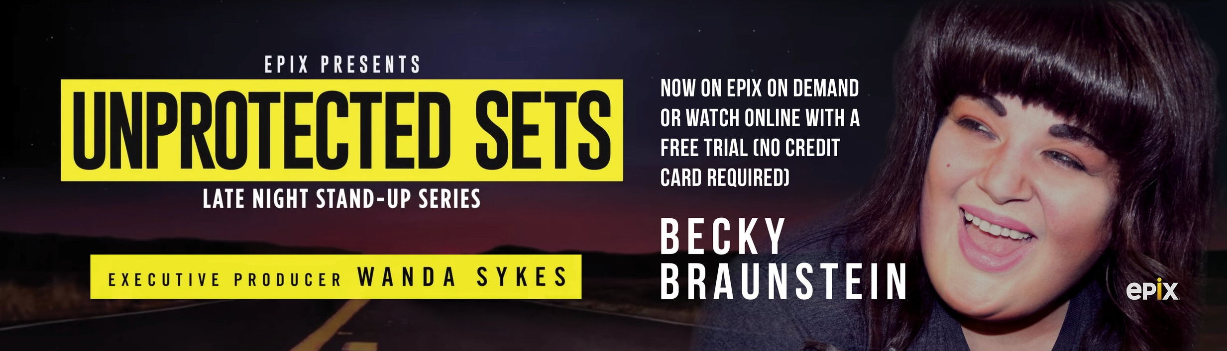 Click the image to    watch my half-hour special online    with a free trial (no credit card / payment info required!) at the EPIX website!