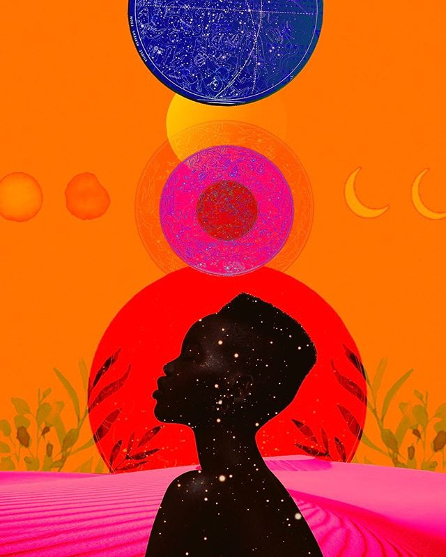 Chakra balancing  Happy Sunday friends! . . . . . .  #moonphase #moonchild #mindfulness #artist #illustration #digitalcollage #collageartwork #digitalartwork #collagedigital #newmedia #photoshop #chakras #experimental  #blackmodel #chakrahealing #afroart #stars #collagist#c_expo #experimental #surreal #bohemianartist #bohemianstyle #afrofuturism #collage #landscape_love #creative #creativity