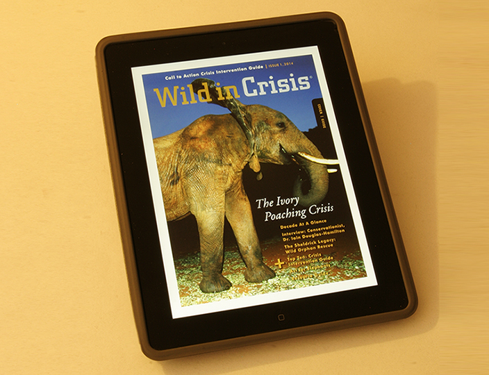 THE WILD IN CRISIS mobile app FEATURES ARTICLES, STUNNING slide shows AND HOW-TO GUIDES TO SAVE ELEPHANTS.