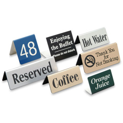 Aluminum Brass Bronze Copper Laser Metal Plastics Stainless Steel Titanium   Table tents feature an inverted V design to sit on flat surfaces Print on one or both sides (for an additional fee).