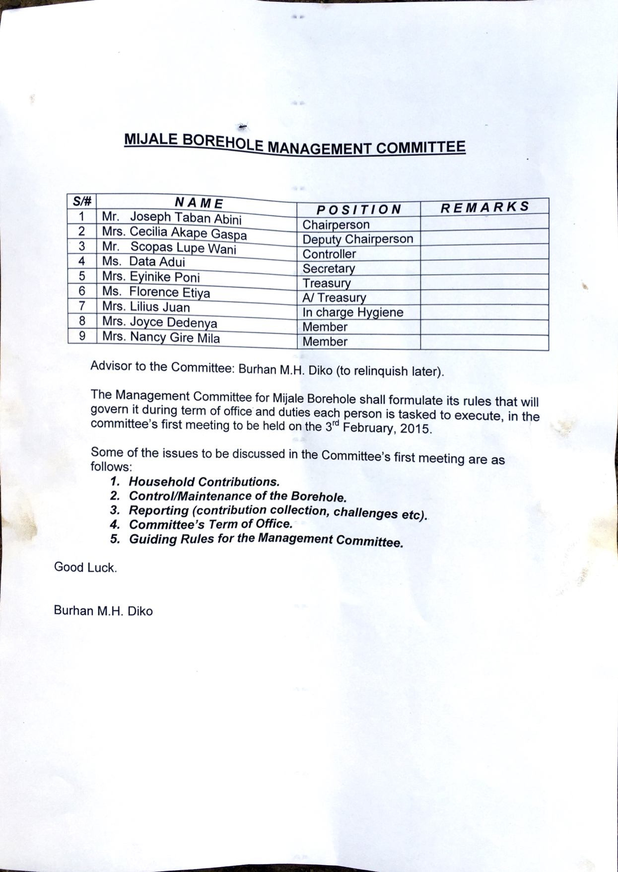 The committee members and tasks.