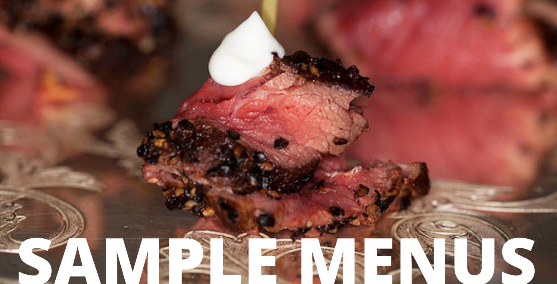 sample menus steak black pepper skewer fine gourmet catering