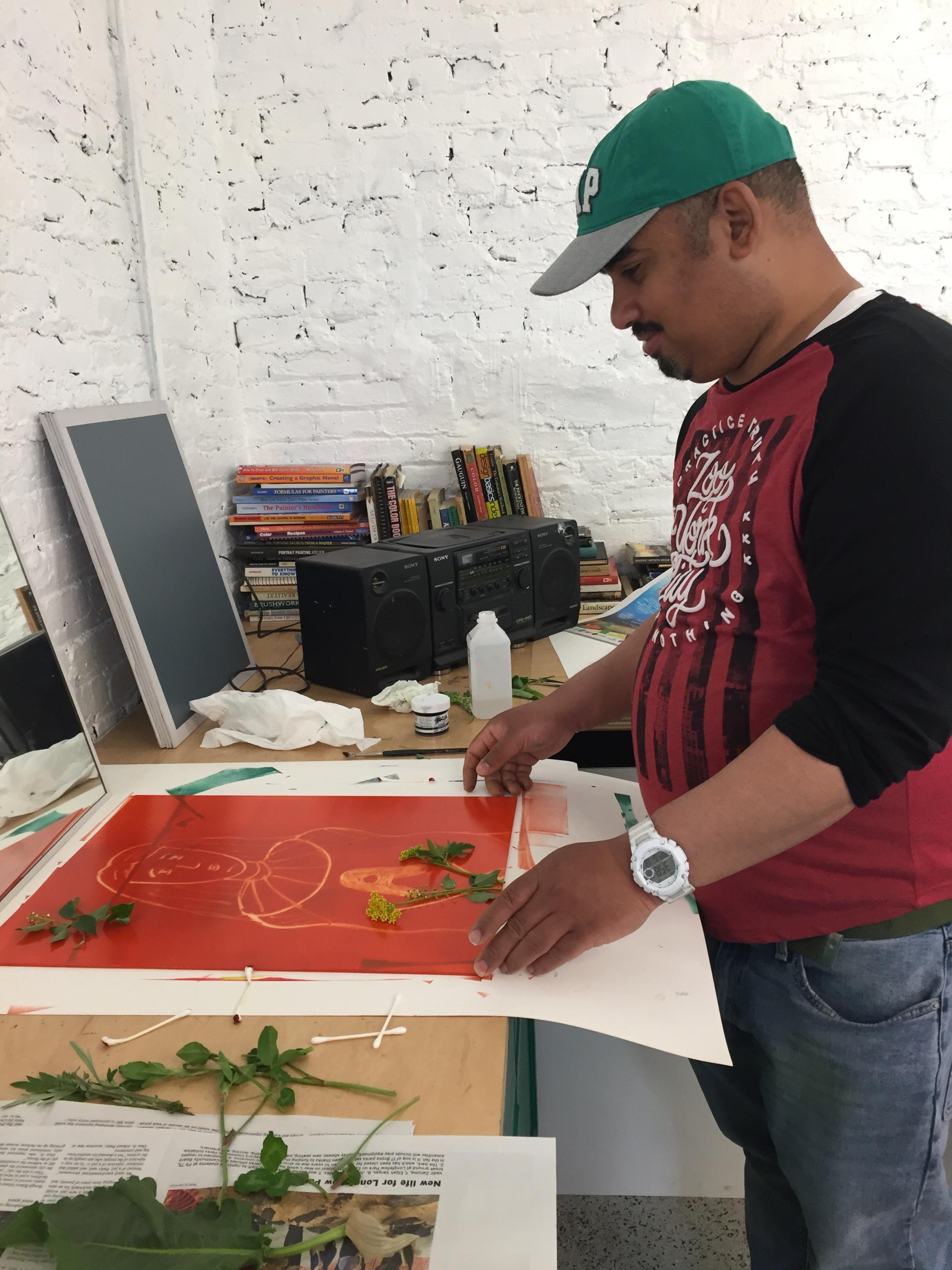 Urban Wild Plant Self-Portraiture Monoprint Workshop