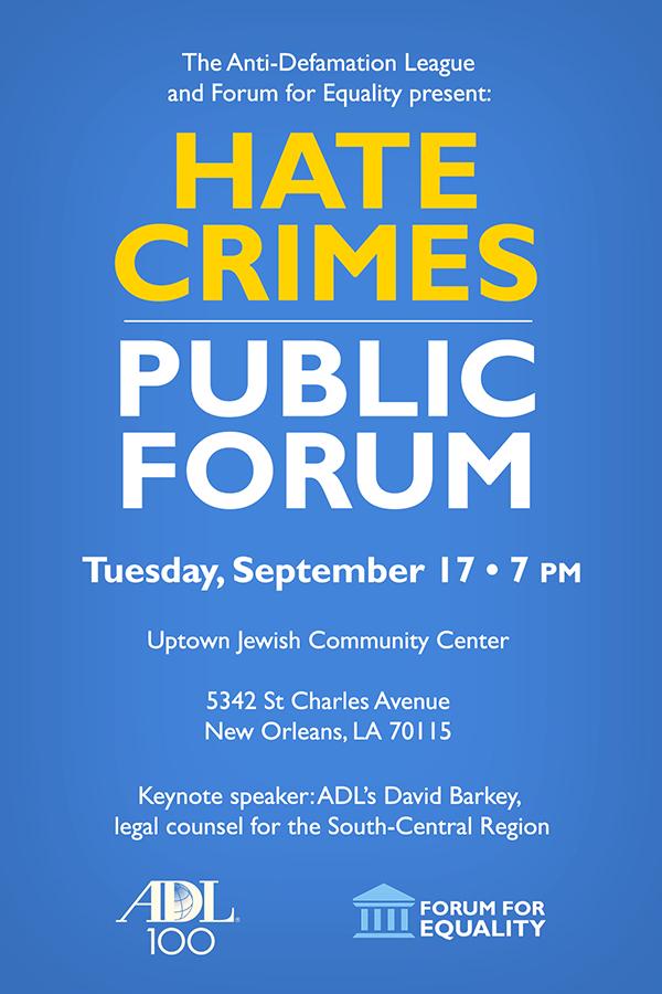 Hate Crimes Public Forum flyer