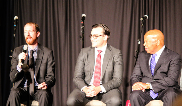 (l. to r.) Nate Powell, Andrew Aydin, John Lewis