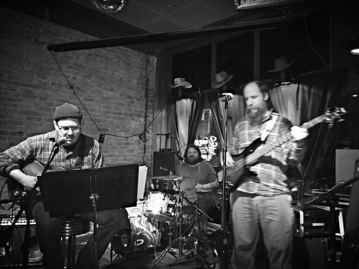 Blind Engineer at Shrunken Head, Feb. 13 2015. (BE left, Bill Heingartner, drums, Eric Nassau on bass.) Photo by John Joseph.