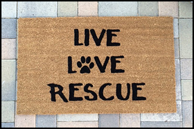 This welcome mat is the perfect way to share your love of animals. $5.00 will be donated to I.C.A.R.E. Dog Rescue for each doormat sold!