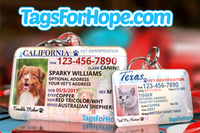 When you order a cute tag for your dog or cat, TagsForHope will donate 35% of your purchase to I.C.A.R.E. Dog Rescue!