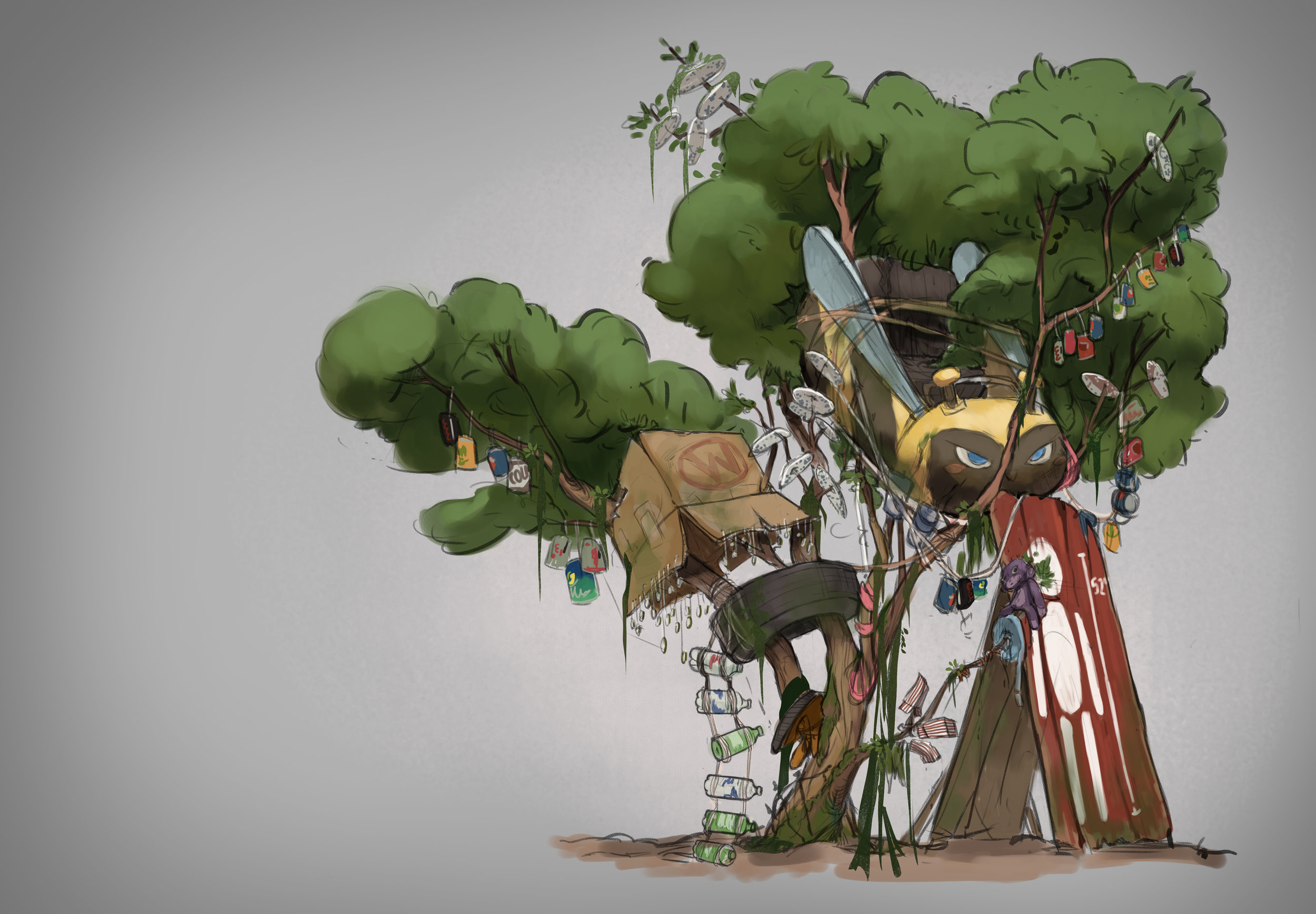"""This was a piece from the set above. It was meant to be a home for a raccoon forager character named """"Fidget."""" The thinking was that she gathered various items throughout the amusement park to build and personalize her home in a tree."""