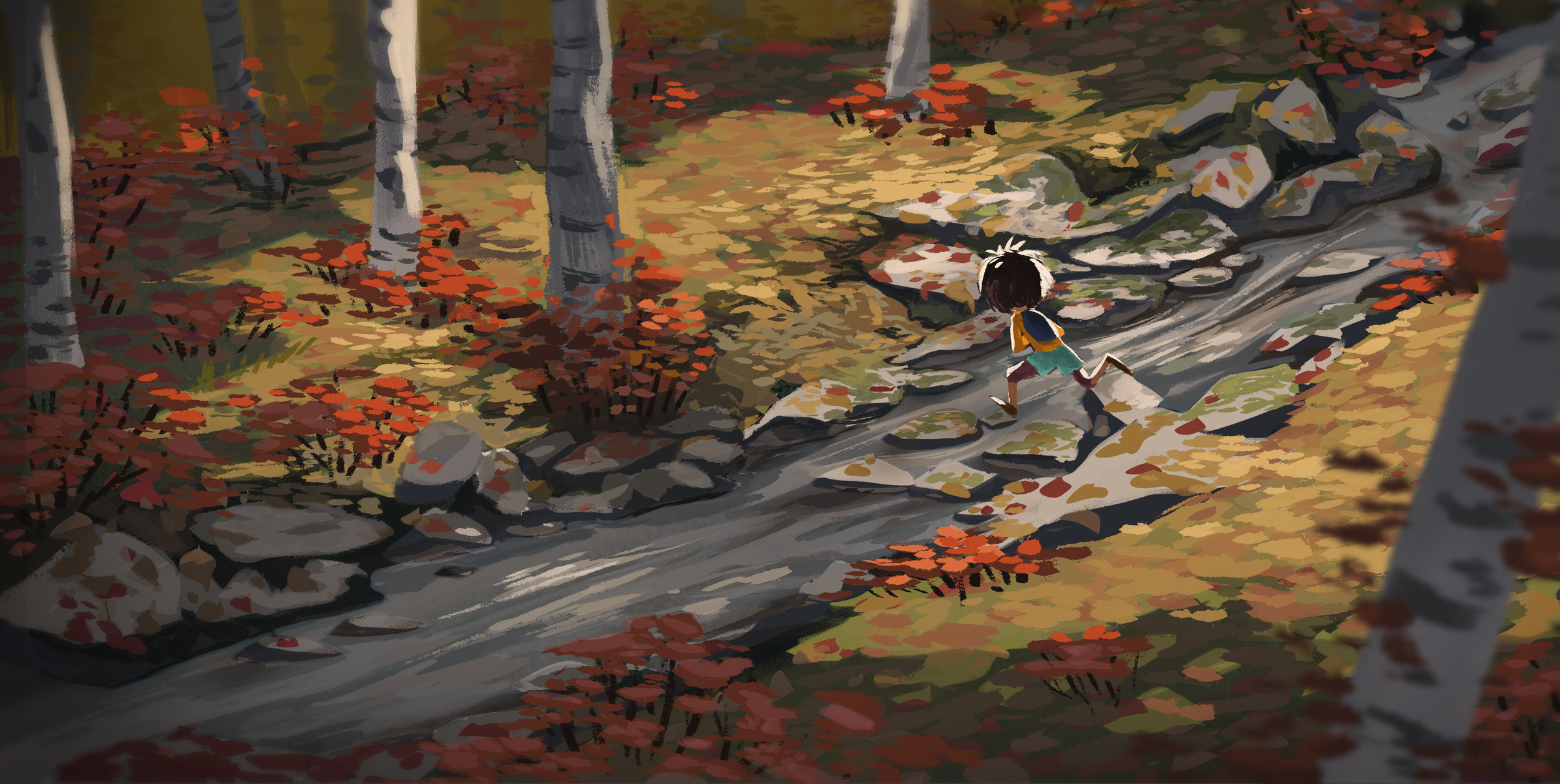 A quick painting to explore a location for a film sequence.