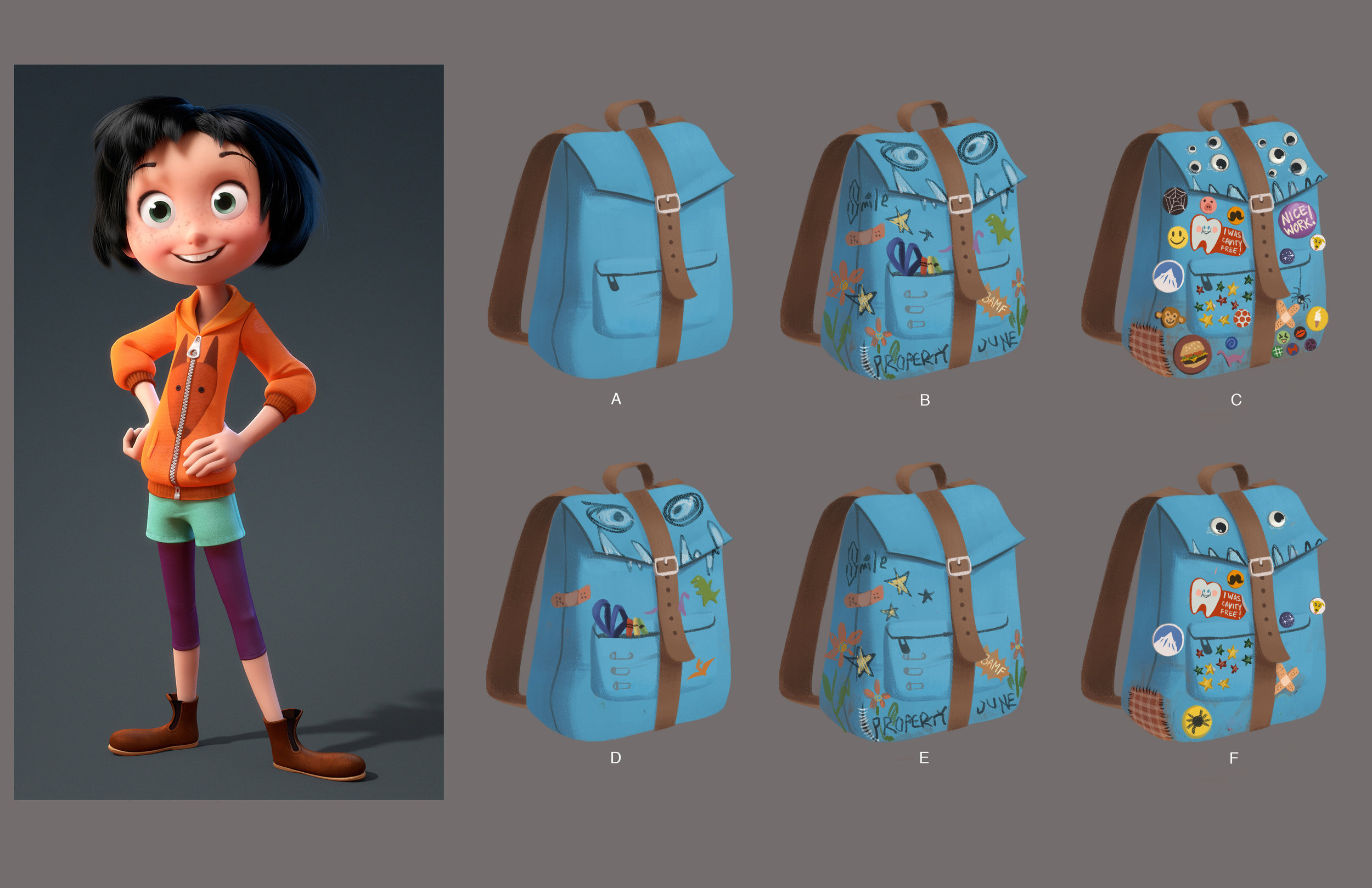 Further explorations on June's backpack. It was supposed to feel like a creative 12-year-old girl had personalized it. F was the final chosen design.