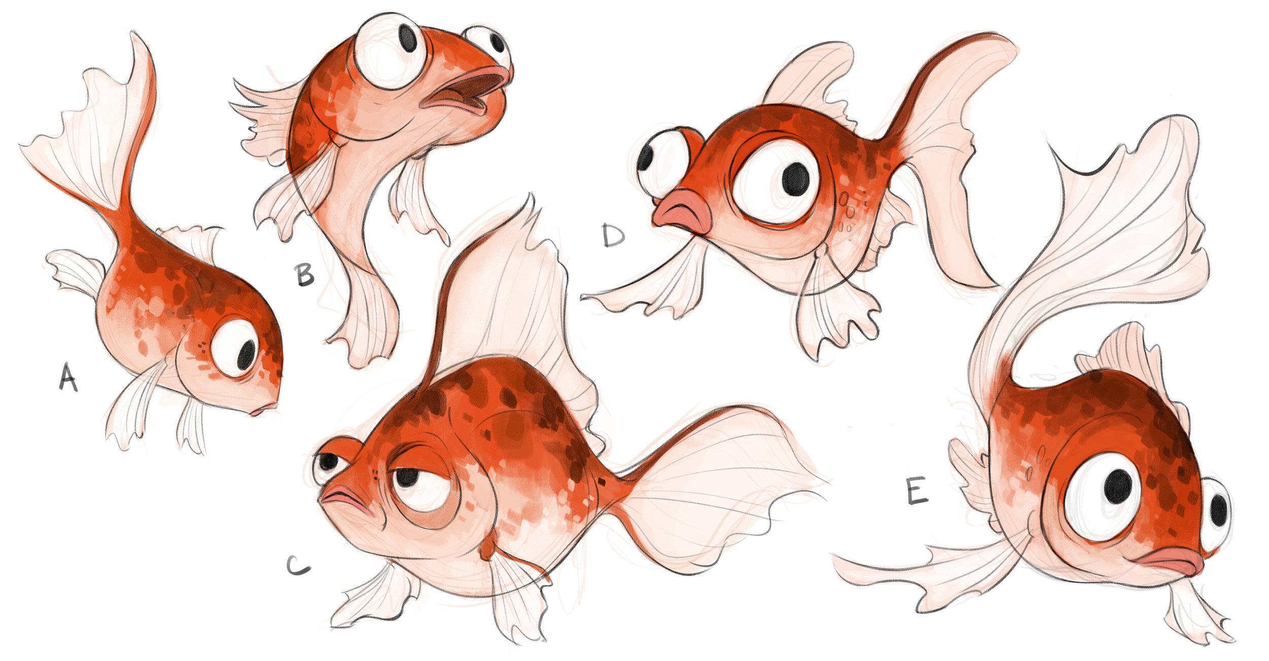 "June has a pet goldfish  named ""Fred"" who reappears in the amusement park as a ride.  Here are early character explorations for Fred."