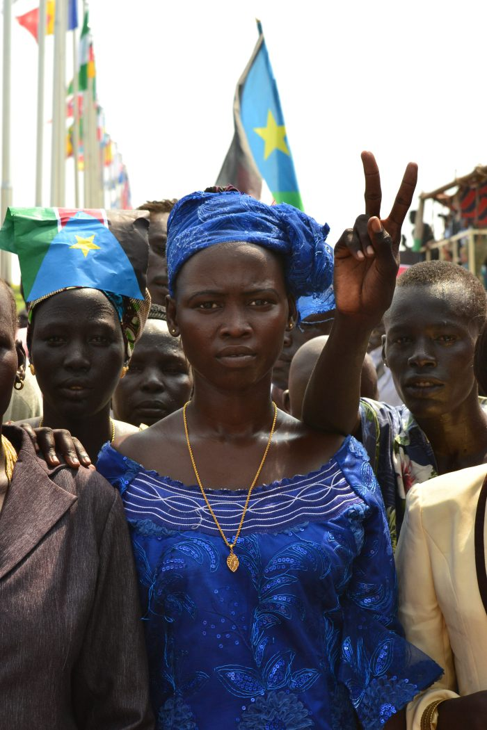 Villagers in the city of Juba, South Sudan attend a celebration for their nation's independence. (2011)