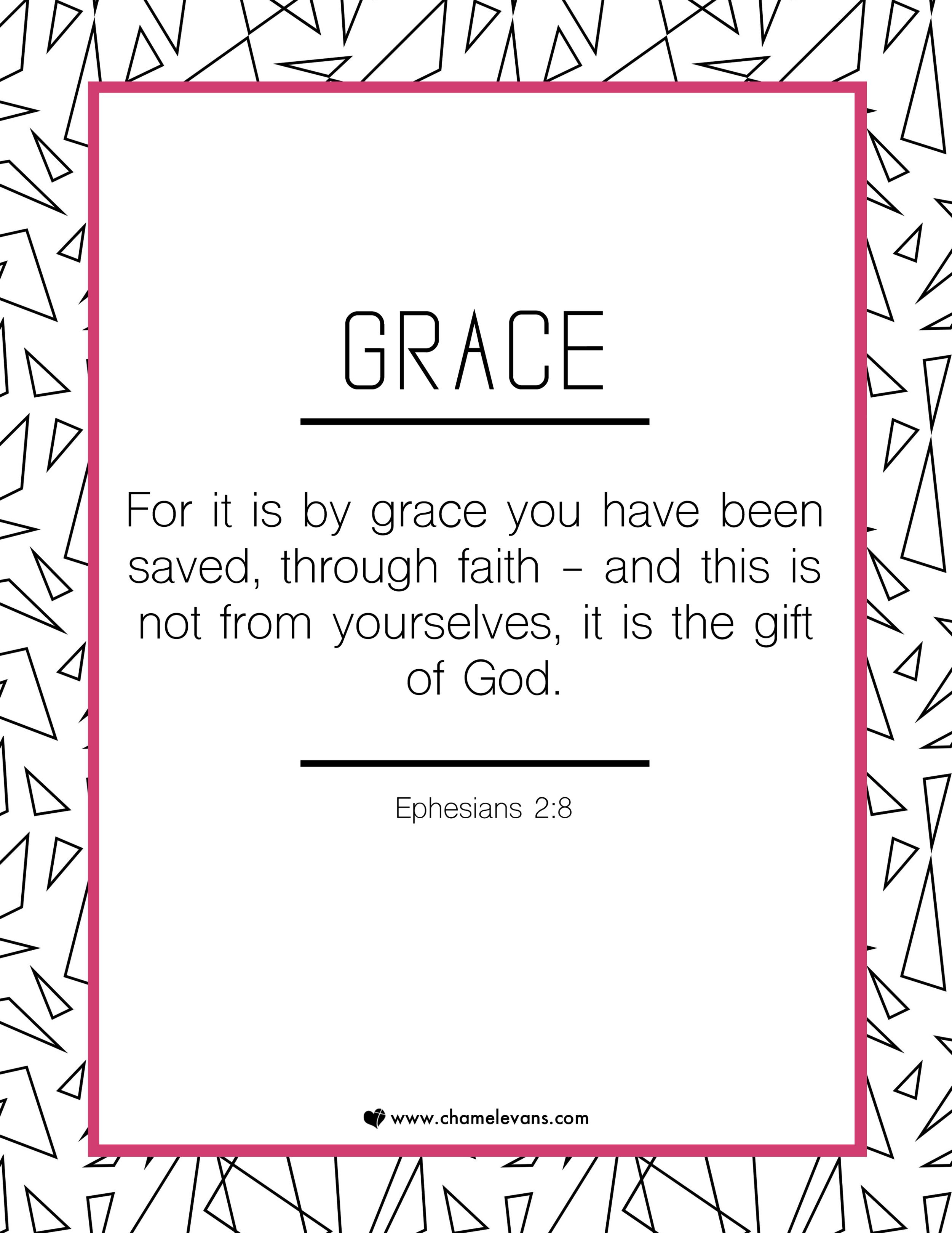 free scripture art printables - grace - stand in God's truth | www.chamelevans.com