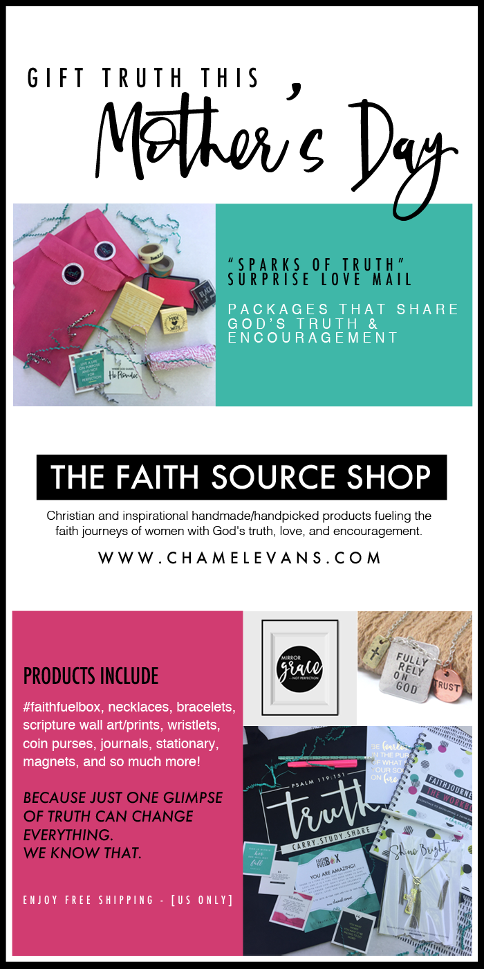 Shop Christian and inspirational handmade/handpicked products fueling the faith journeys of women with God's truth, love, and encouragement.   www.chamelevans.com