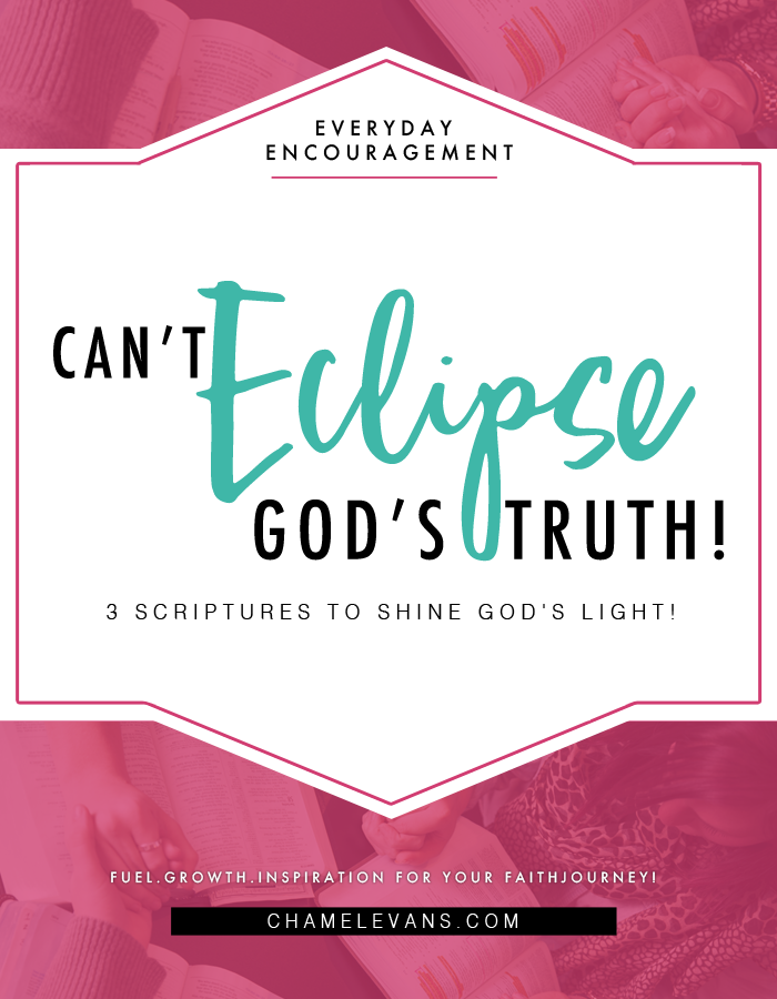 You too must put on your glasses (God's truth) and see through the darkness and let others see God in you!   Truth & Empowerment for your faith journey   www.chamelevans.com