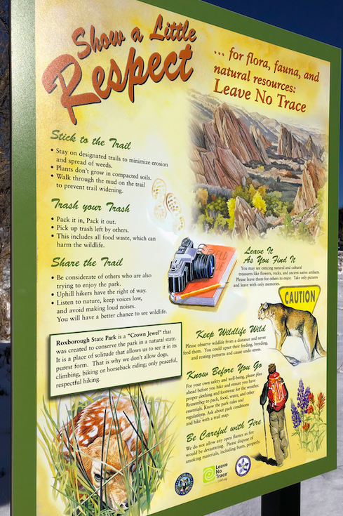 A trail etiquette sign at Roxborough State Park.