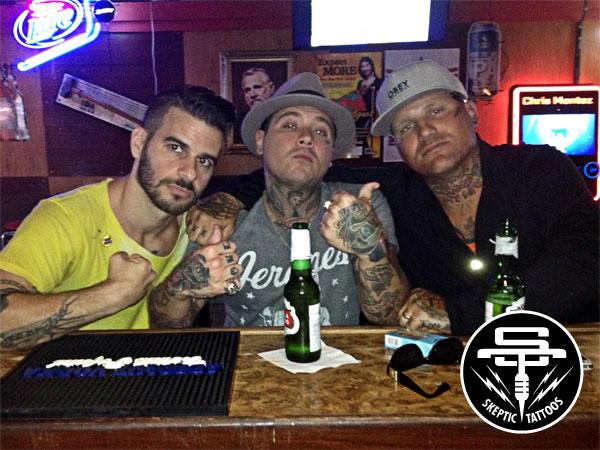 Arlo, Brandon Campbell and Josh Petty at Turner's Pub 33 in Costa Mesa.