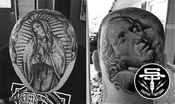 Josh Petty's head tattoos.