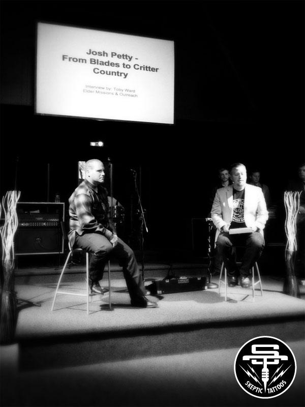 Josh Petty testifying at Image Church, 2014.