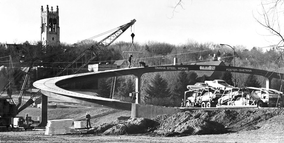 Jan. 24, 1968, construction of new pedestrian overpass on DODGE STREET west of Happy Hollow Boulevard. In the background is the bell tower of SMM 2.jpg