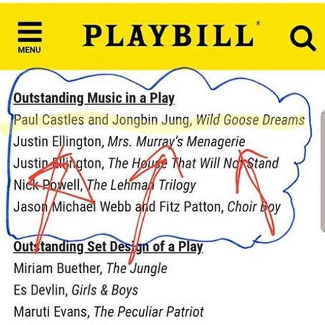 Posting because I know he won't—my dear, dear friend and song cycle composer-in-crime was just nominated for a Drama Desk award for his work on Hansol Jung's Wild Goose Dreams!!! Congrats Paul!!!!!!!! 💕💐💚🍾❤️🎭 . . . . #dramadeskawards #paulcastles #publictheater @publictheaterny #offbroadway #wildgoosedreams #hansoljung @chokkie #theatre #composer #playbill