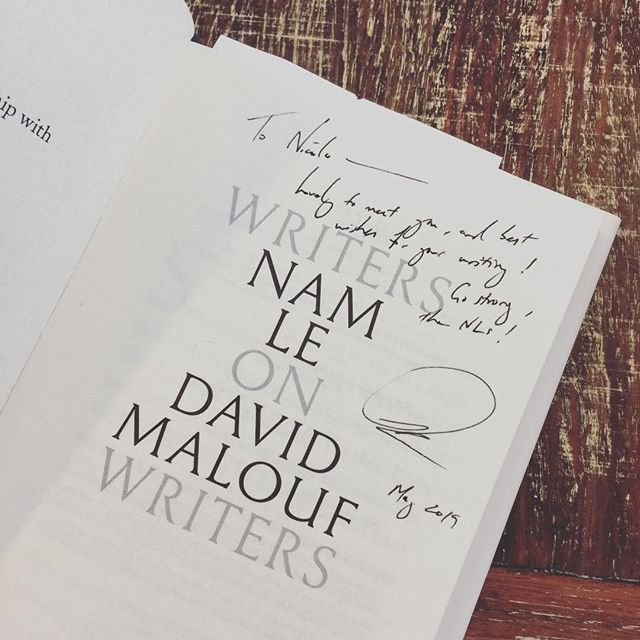 Met one of my heroes today!!! 😍😍😍 . . . . #namle #theboat #thenls #swf19 #sydneywritersfestival #writers #writing #davidmalouf #ozlit #literature #books @blackincbooks
