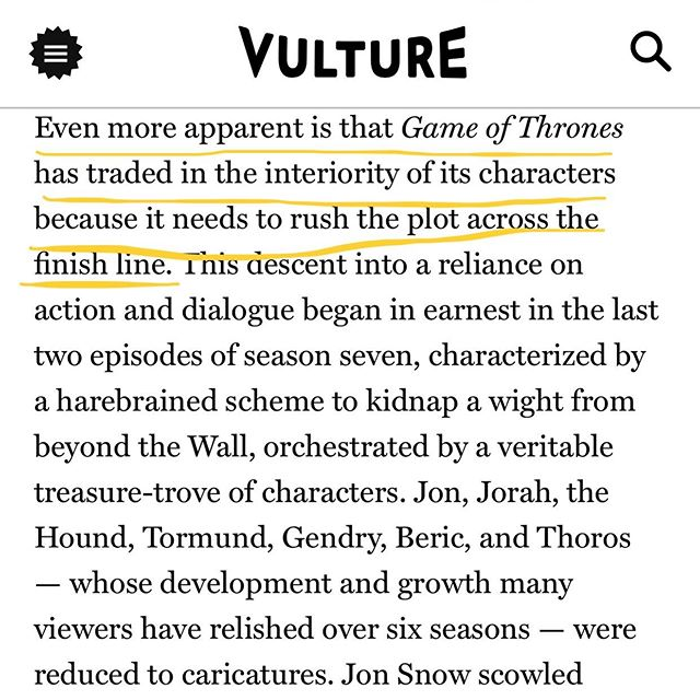 Note to self: *never* sacrifice character interiority/development for plot 🐉🔥🤔✍🏼 . . . . #writinglessons #gameofthrones #danaerystargaryen #madqueen #ninalicoombes #closereads #nymag @vulture #notetoself #characterdevelopment