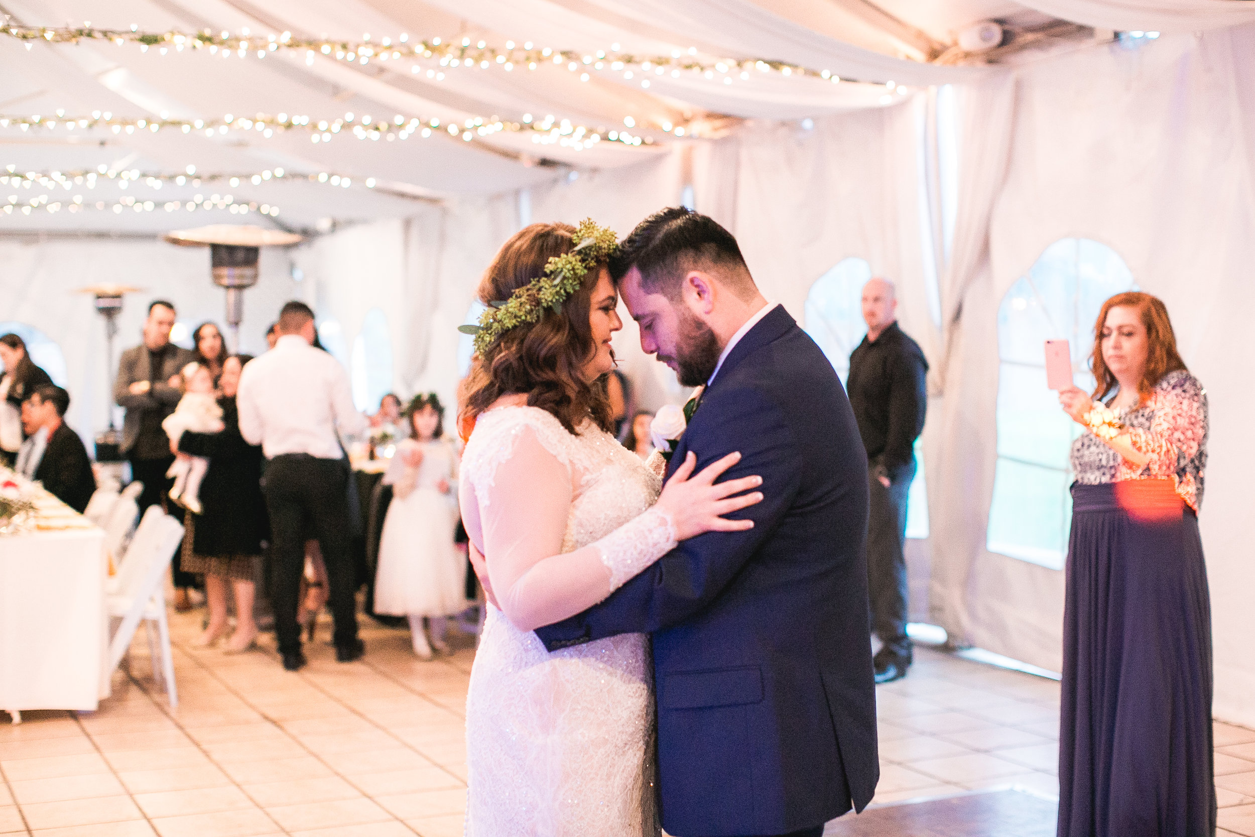 Sometimes, the reception lighting can create unpleasant colors and shadows. This reception lighting created a romantic glow so I decided to forego my off-camera flash equipment.