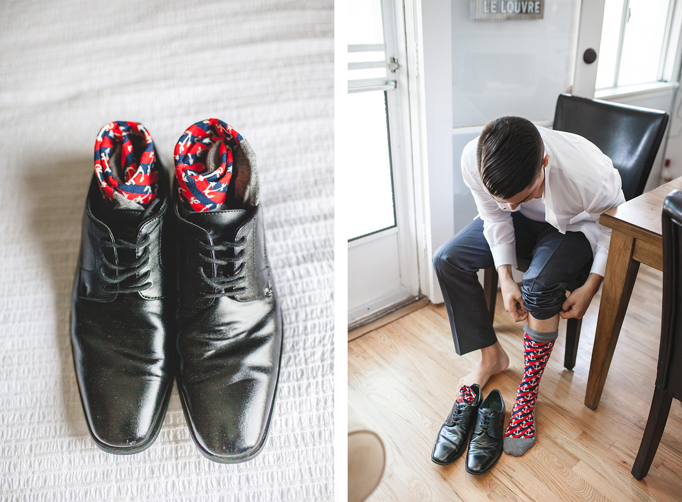 Meanwhile, Aaron getting ready separately with his groomsmen + dad + these rad socks.