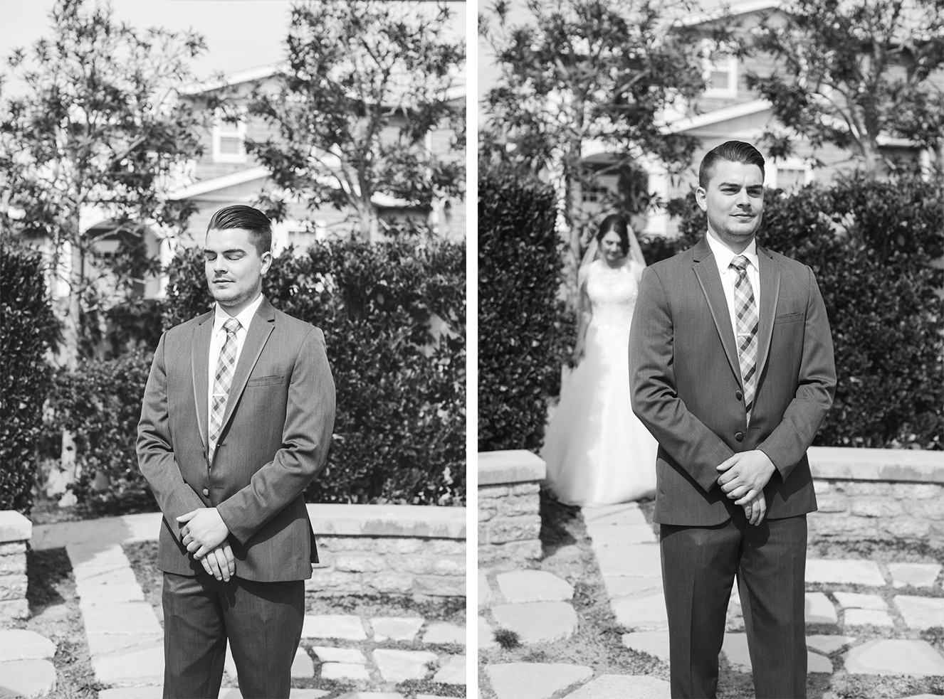 Aaron was pretty nervous and anxious to see his bride.