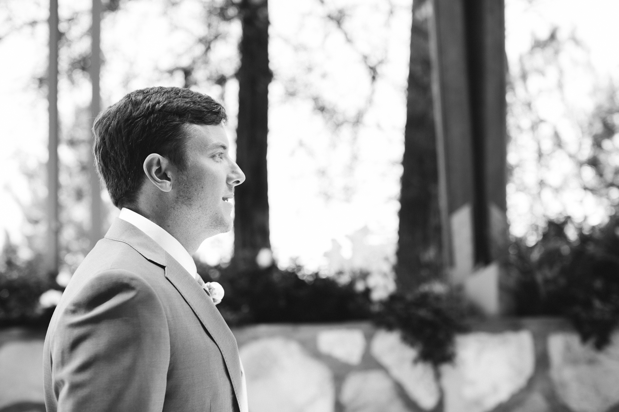 Casey getting ready for his bride to walk down the aisle