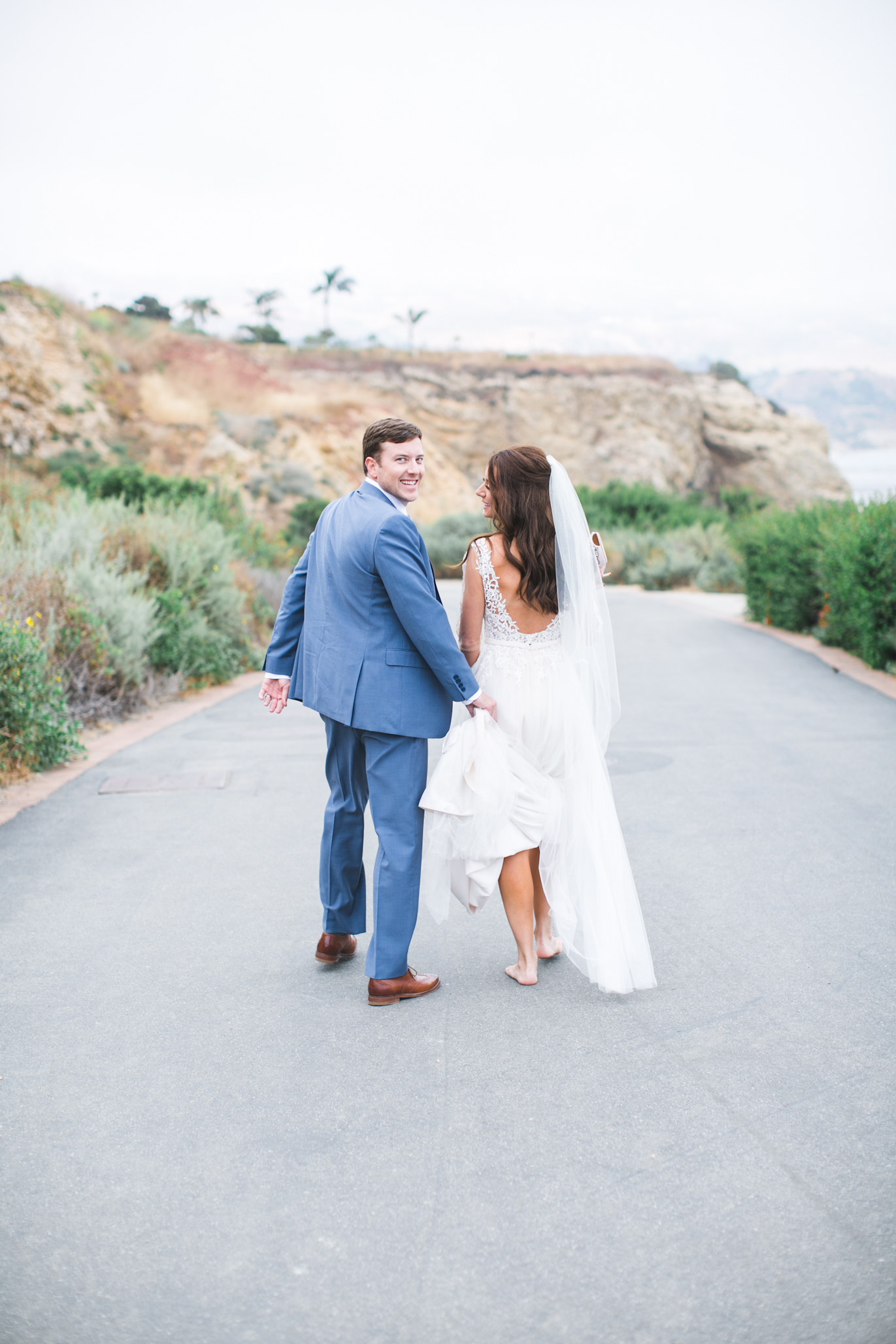 During cocktail hour, I stole the bride and groom for a more intimate couple session down towards Terranea Cove. Love taking couples to this spot!